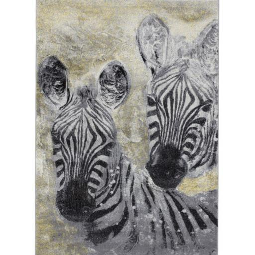 Safari Animal Art Zebra Rug in Silver
