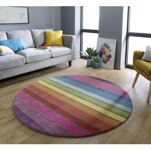 Illusion Candy Multi Colours Striped Wool Circle Rug 160 x 160 cm (5'3''x5'3'')