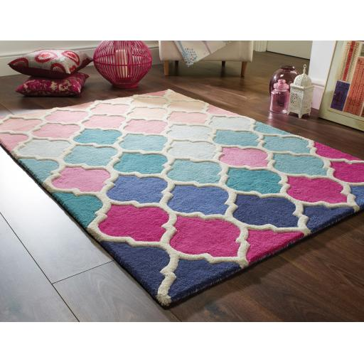 Illusion Rosella Hand Tufted Wool Rugs in Pink Blue