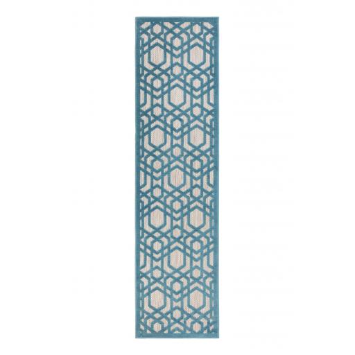 Piatto Oro Blue Outdoor Indoor Hallway Runner Rug