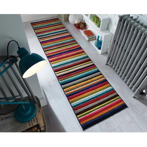 Spectrum Tango Stripe Multi Colour Hand Carved Hallway Runner Rug