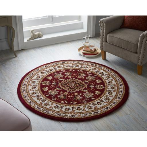 Sherborne Traditional Classic Oriental Circle Rugs in Green, Red, Beige, Pink and Dark Blue 133 x 133 cm (4'5''x4'5'')