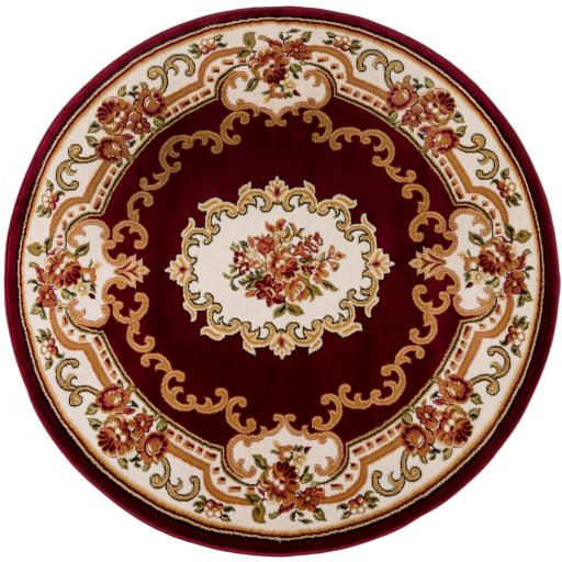 Sincerity Royale Dynasty Aubusson Circle (Round) Rugs in Beige Red and Green 133 x 133 cm (4'5''x4'5'')