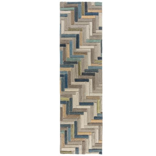 Moda Russo Geometric 100% Wool Hallway Runner Rug in Natural Multi 60 x 230 cm (2'x7'7'')