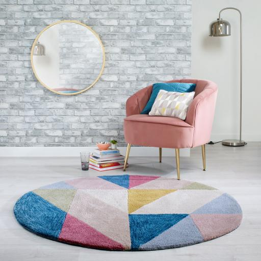 Zest Metro Geometric Circle Rug in Multicolours 133 x 133 cm (4'5''x4'5'')