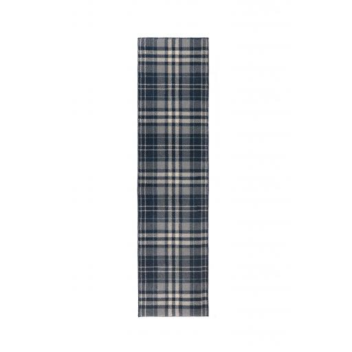 Loch Kilbirnie Tartan Traditional Hallway Runner Rugs in Blue, Dark Grey, Natural and Silver Grey 60x 230 cm (2'x7'7'')