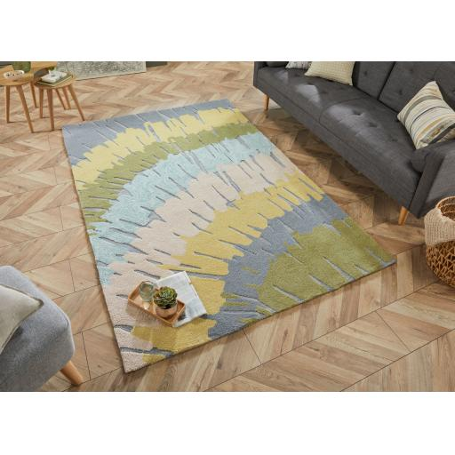 Zest Woodgrain Abstract Hand Carved Rug in Green, Natural and Terracotta