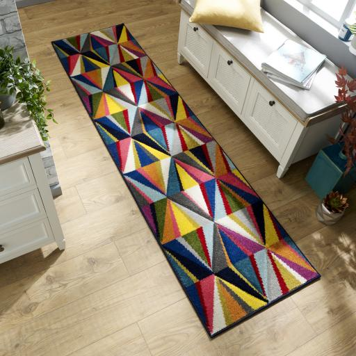 Spectrum Danza Geometric Hallway Runner Rug in Multi Colours 66 x 230 cm (2'5''x7'7'')