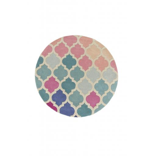 Illusion Rosella Hand Tufted Wool Circle Rug in Pink Blue 160 x 160 cm (5'3''x5'3'')