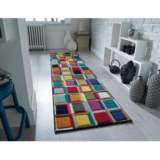 Spectrum Waltz Multi Colours Geometric Hallway Runner Rug