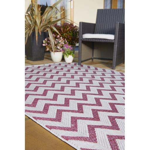 Florence Alfresco Trieste Outdoor Indoor Rugs in Terracotta, Yellow and Pink