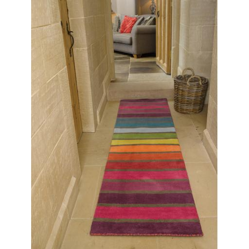 Illusion Candy Multi Colours Striped Wool Hallway Runner Rug