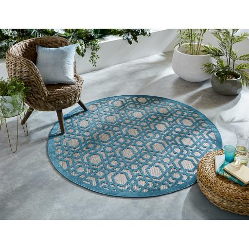 Piatto Oro Blue Outdoor Indoor Circle Rug 160 x 160 cm (5'3''x5'3'')