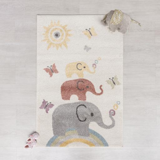 Bambino Elephants Baby Kids Cream/Multi Rug 80 x 120 cm (2'7''x5'6'')