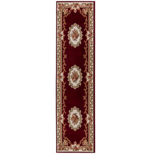 Sincerity Royale Dynasty Aubusson Hallways Runner in Beige, Red And Green