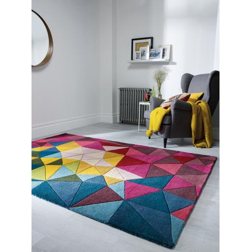 Illusion Falmouth Geometric Multi Colours Wool Rug