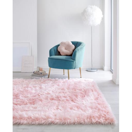 Faux Fur Sheepskin Rugs in Grey, Ivory and Pink