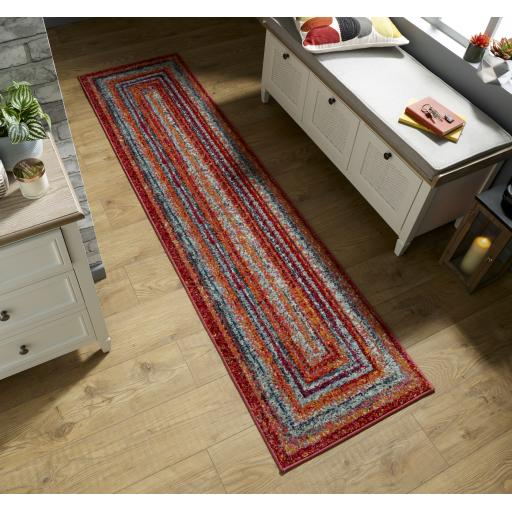 Spectrum Zook Striped Hallway Runner Rug in Multi Colours 66 x 230 cm (2'5''x7'7'')