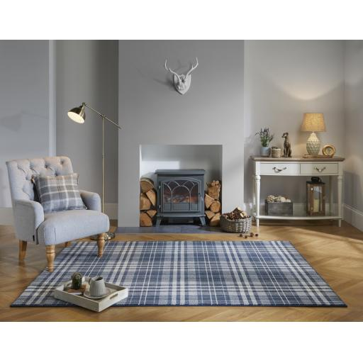 Loch Kilbirnie Tartan Check Traditional Rugs in Blue, Dark Grey, Natural and Silver Grey