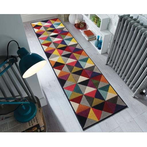 Spectrum Samba Vibrant Multi Colours Geometric Halway Runner Rug