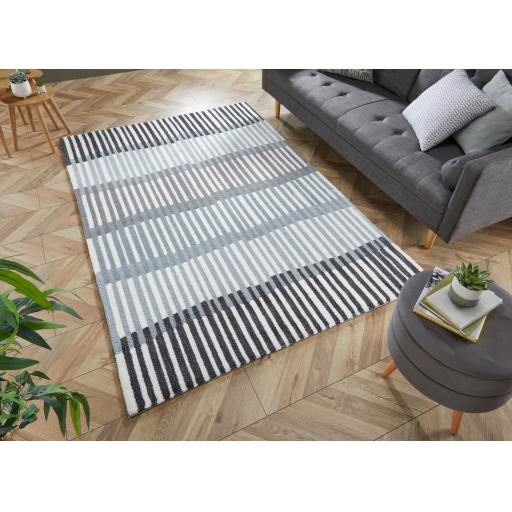 Zest Linear Stripe Rugs in Denim, Grey/Terracotta, and Monochrome