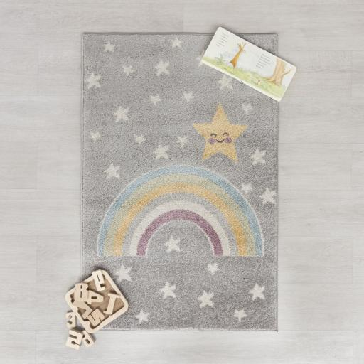 Bambino Rainbow Night Baby Kids Grey/Multi Rug 80 x 120 cm (2'7''x5'6'')