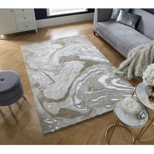 Eris Marbled Modern Abstract Metallic Silver Natural Rugs Runners