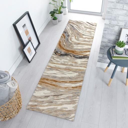 Modern Zest Jarvis Abstract Hand Carved Hallway Runner Rug in Natural/Multi 60 x 230 cm (2'x7'7'')