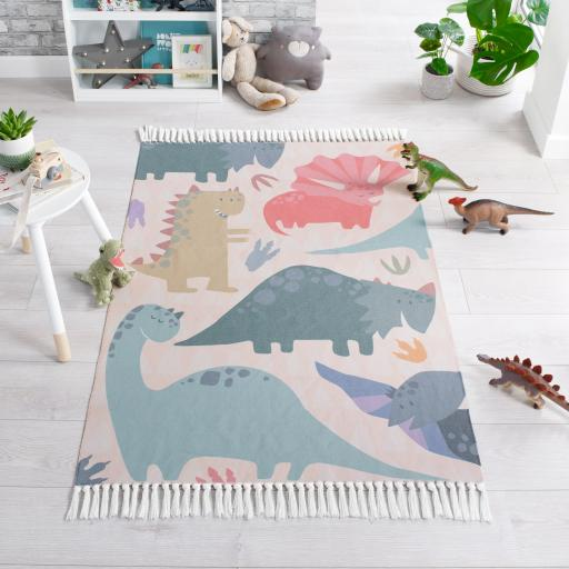 Leka Walk The Dinosaur Children Kiddy Nursery Rugs in Multi Colours
