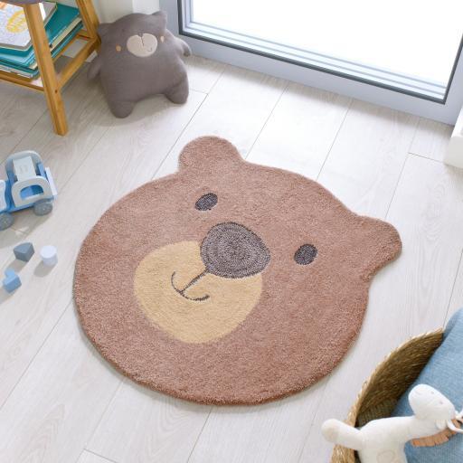 Zest Kids Children Kiddy Bear Face Brown Soft Rug in 70 x 70 cm (2x2)