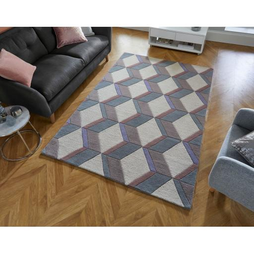 Moderno Brent Geometric Hand Carved Wool Rug in Natural