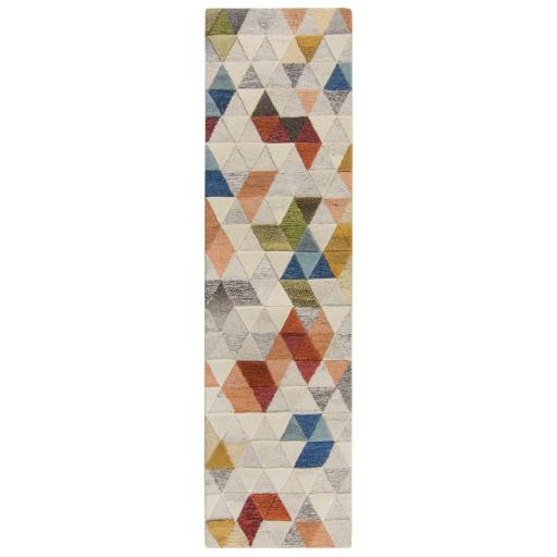 Moda Amari Geometric 100% Wool Halway Runner Rug in Natural Multi 60 x 230 cm (2'x7'7'')