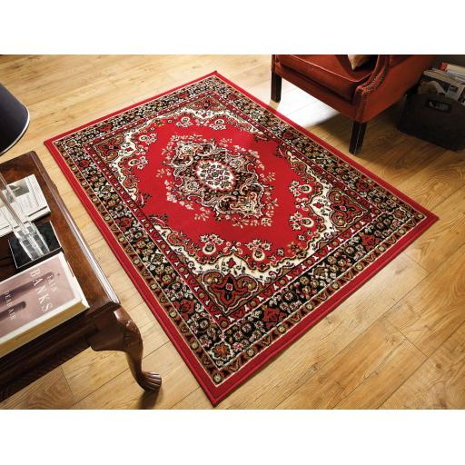 Element Prime Lancaster Traditional Oriental Classic Rugs in Red Beige and Grey