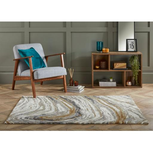 Modern Zest Jarvis Abstract Hand Carved Rug in Natural/Multi