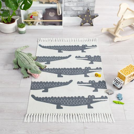 Leka Snap Crocodile Kiddy Children Nursery Rugs in White Grey