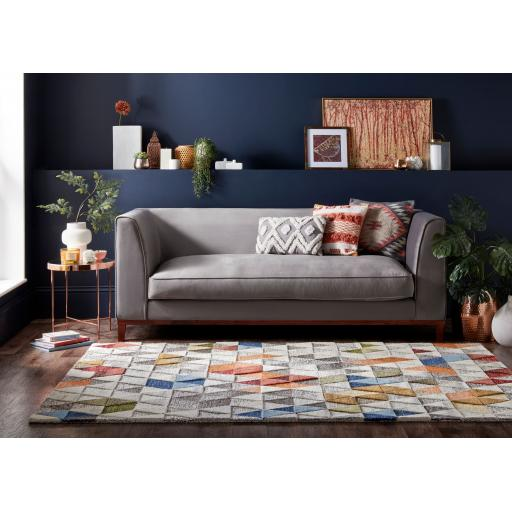 Moda Amari Geometric 100% Wool Rug in Natural Multi