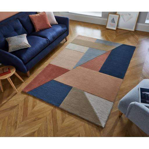 Moderno Alwyn Geometric Hand Carved Wool Rug in Multi Colours