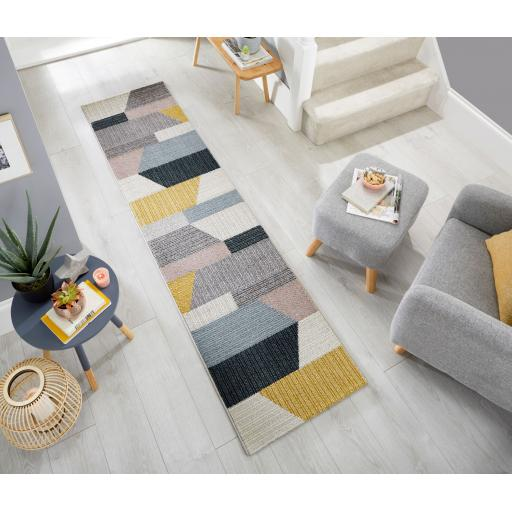 Cadiz Barrio Block Geometric Hand Carved Grey Ochre Hallway Runner 60 x 230 cm (2'x7'7'')