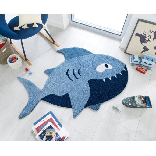 Zest Kids Children Kiddy Shark Shaped Blue Rug in 90 x 150 cm (3x5)