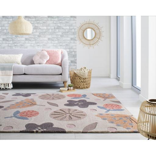 Zest Scandi Floral Hand Carved Rug in Clay and Grey/Multi