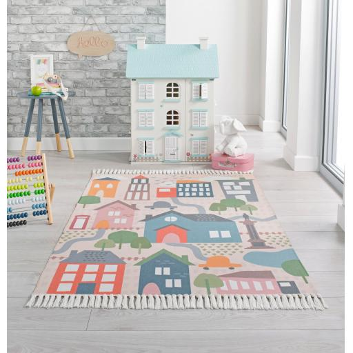 Leka My Town Nursery Kiddy Rugs in Multi Colours