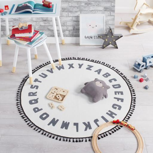 Leka Alphabet Circle Nursery Kiddy White Black Rug in 120 x 120 cm (4'x4'')
