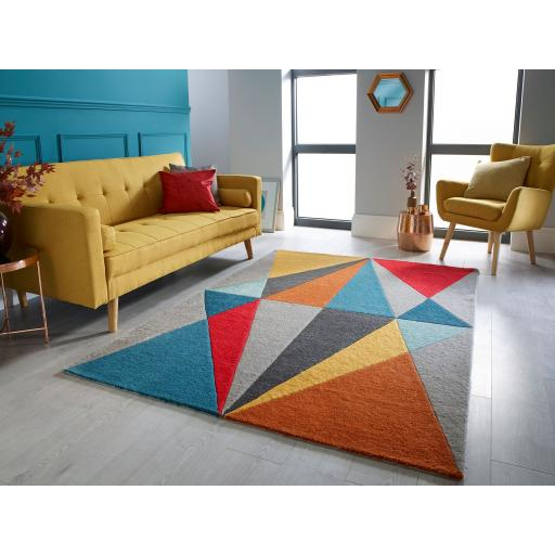 Infinite Diamonds Modern Geometric Rug in Multi 80 x 150 cm (2'6''x5'0'')