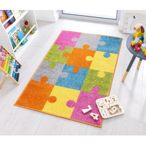 Kids Play Days Jigsaw Brights Rug in 80 x 120 cm (2'6''x4')