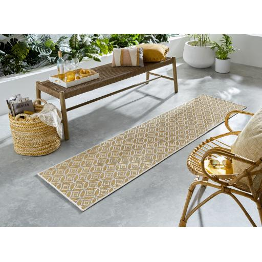 Florence Alfresco Veneto Outdoor Indoor Ochre Yellow Hallway Runner Rug 66 x 230 cm (2'5''x7'7'')