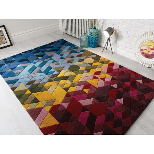 Illusion Kingston Geometric Multi Colours Wool Hand Tufted Rug