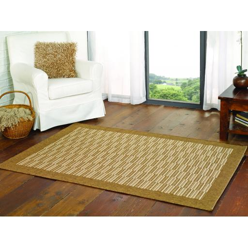 Florence Alfresco Raffles Outdoor Indoor Flatweave Rugs in Natural and Rust