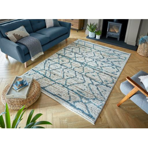 Santiago Neruda Abstract Fashion Hand-Knotted Style Soft Rug in Natural/Blue