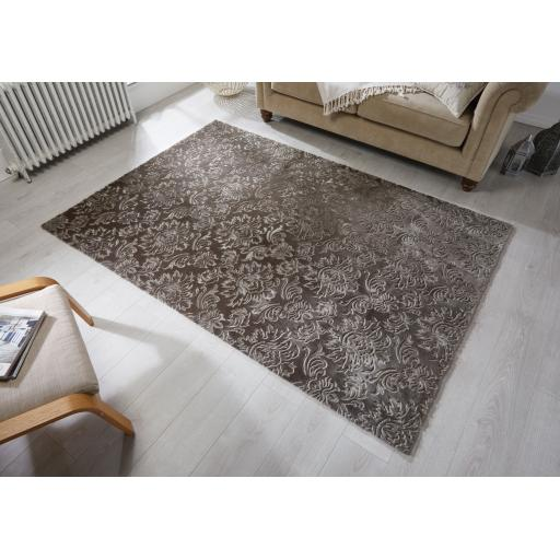 Barada Damascus Traditional Damask Design Rugs in Grey Mauve and Gold