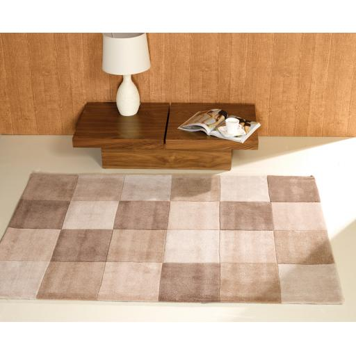 Infinite Squared Checked Rug in Natural 120 x 170 cm (4'x5'6'')